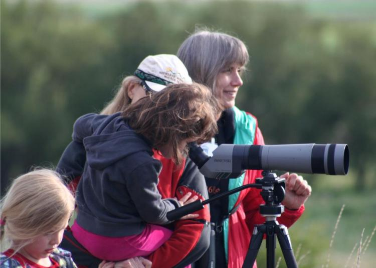 Members of the public bird watch at Ladd Marsh Birdathon.