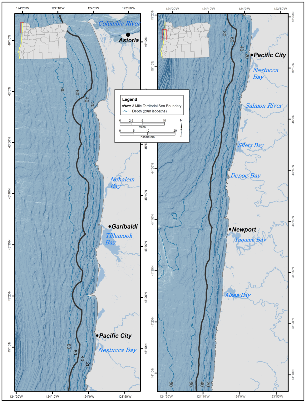 Map of Nearshore area along north Oregon coast.