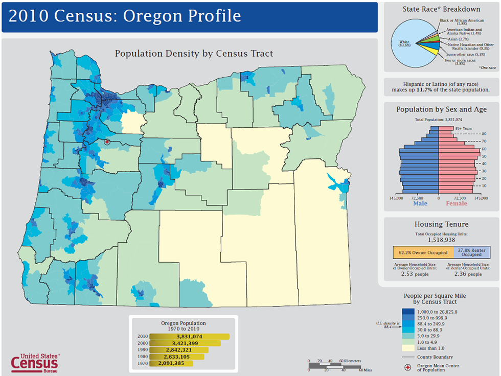 Oregon population density by Census Tract