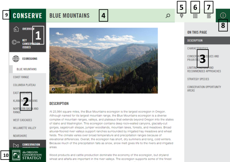 Screenshot of the OregonConservationStrategy.org website, with sections labeled for describing how to use the site.