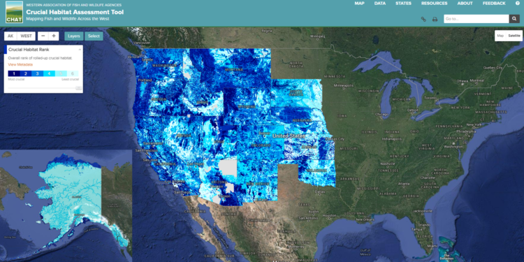 The WAFWA CHAT crucial habitat layers were designed to seamlessly map across state boundaries, creating an unprecedented map of fish and wildlife habitats  covering nearly half the United States.