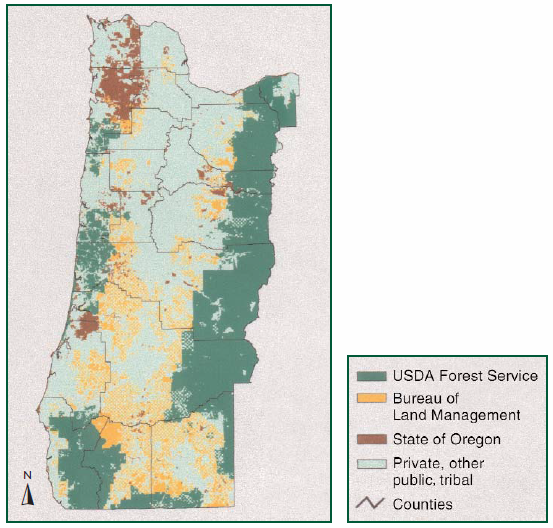 Map depicting land ownership in western Oregon